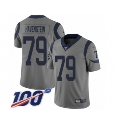 Men's Los Angeles Rams #79 Rob Havenstein Limited Gray Inverted Legend 100th Season Football Jersey