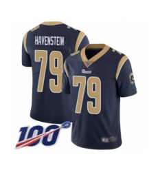 Men's Los Angeles Rams #79 Rob Havenstein Navy Blue Team Color Vapor Untouchable Limited Player 100th Season Football Jersey