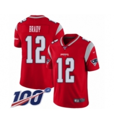 Men's New England Patriots #12 Tom Brady Limited Red Inverted Legend 100th Season Football Jersey