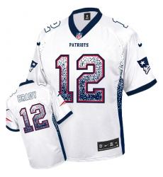 Men's Nike New England Patriots #12 Tom Brady Elite White Drift Fashion NFL Jersey