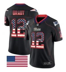 Men's Nike New England Patriots #12 Tom Brady Limited Black Rush USA Flag NFL Jersey