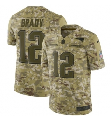 Men's Nike New England Patriots #12 Tom Brady Limited Camo 2018 Salute to Service NFL Jersey