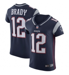 Men's Nike New England Patriots #12 Tom Brady Navy Blue Team Color Vapor Untouchable Elite Player NFL Jersey