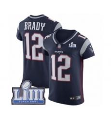 Men's Nike New England Patriots #12 Tom Brady Navy Blue Team Color Vapor Untouchable Elite Player Super Bowl LIII Bound NFL Jersey