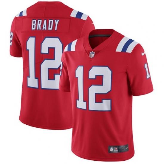 Men's Nike New England Patriots #12 Tom Brady Red Alternate Vapor Untouchable Limited Player NFL Jersey