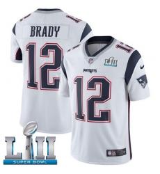 Men's Nike New England Patriots #12 Tom Brady White Vapor Untouchable Limited Player Super Bowl LII NFL Jersey