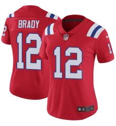 Women's Nike New England Patriots #12 Tom Brady Red Alternate Vapor Untouchable Limited Player NFL Jersey