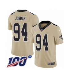 Youth New Orleans Saints #94 Cameron Jordan Limited Gold Inverted Legend 100th Season Football Jersey
