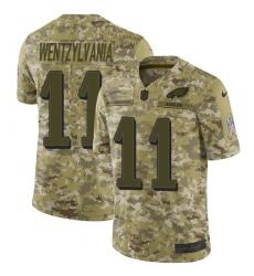 Men's Nike Philadelphia Eagles #11 Carson Wentz Camo Wentzylvania Limited 2018 Salute to Service NFL Jersey