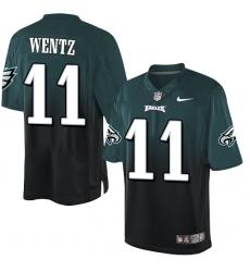 Men's Nike Philadelphia Eagles #11 Carson Wentz Elite Midnight Green/Black Fadeaway NFL Jersey
