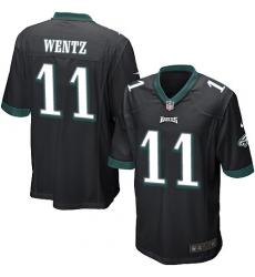 Men's Nike Philadelphia Eagles #11 Carson Wentz Game Black Alternate NFL Jersey