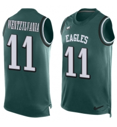 Men's Nike Philadelphia Eagles #11 Carson Wentz Limited Midnight Green Player Name & Number Tank Top Wentzylvania NFL Jersey