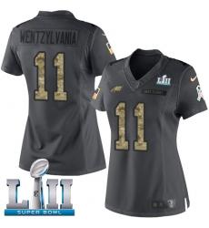 Women's Nike Philadelphia Eagles #11 Carson Wentz Limited Black 2016 Salute to Service Wentzylvania Super Bowl LII NFL Jersey