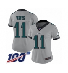 Women's Philadelphia Eagles #11 Carson Wentz Limited Silver Inverted Legend 100th Season Football Jersey