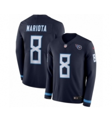 Youth Nike Tennessee Titans #8 Marcus Mariota Limited Navy Blue Therma Long Sleeve NFL Jersey