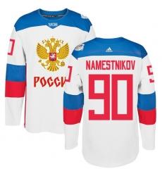Men's Adidas Team Russia #90 Vladislav Namestnikov Premier White Home 2016 World Cup of Hockey Jersey