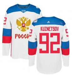 Men's Adidas Team Russia #92 Evgeny Kuznetsov Authentic White Home 2016 World Cup of Hockey Jersey