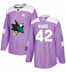 Men's Adidas San Jose Sharks #42 Joel Ward Authentic Purple Fights Cancer Practice NHL Jersey