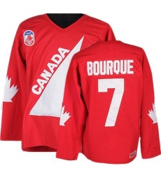 Men's CCM Team Canada #7 Ray Bourque Authentic Red 1991 Throwback Olympic Hockey Jersey