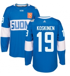 Men's Adidas Team Finland #19 Mikko Koskinen Authentic Blue Away 2016 World Cup of Hockey Jersey