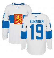 Men's Adidas Team Finland #19 Mikko Koskinen Authentic White Home 2016 World Cup of Hockey Jersey
