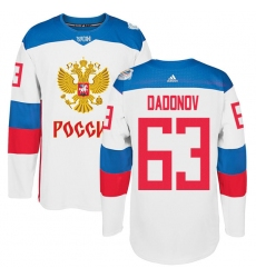 Men's Adidas Team Russia #63 Evgenii Dadonov Authentic White Home 2016 World Cup of Hockey Jersey