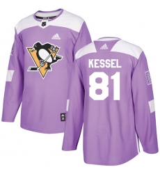 Youth Adidas Pittsburgh Penguins #81 Phil Kessel Authentic Purple Fights Cancer Practice NHL Jersey