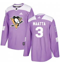 Men's Adidas Pittsburgh Penguins #3 Olli Maatta Authentic Purple Fights Cancer Practice NHL Jersey