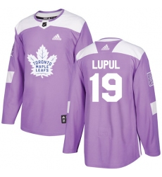 Men's Adidas Toronto Maple Leafs #19 Joffrey Lupul Authentic Purple Fights Cancer Practice NHL Jersey