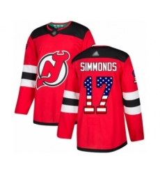 Men's New Jersey Devils #17 Wayne Simmonds Authentic Red USA Flag Fashion Hockey Jersey