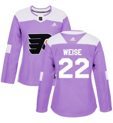 Women's Adidas Philadelphia Flyers #22 Dale Weise Authentic Purple Fights Cancer Practice NHL Jersey