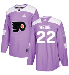 Youth Adidas Philadelphia Flyers #22 Dale Weise Authentic Purple Fights Cancer Practice NHL Jersey