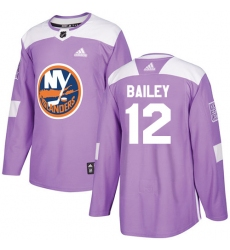 Men's Adidas New York Islanders #12 Josh Bailey Authentic Purple Fights Cancer Practice NHL Jersey