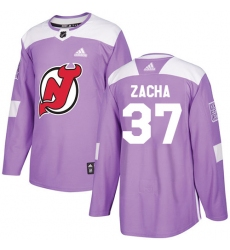 Men's Adidas New Jersey Devils #37 Pavel Zacha Authentic Purple Fights Cancer Practice NHL Jersey