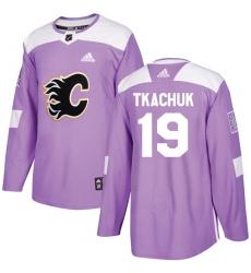 Men's Adidas Calgary Flames #19 Matthew Tkachuk Authentic Purple Fights Cancer Practice NHL Jersey