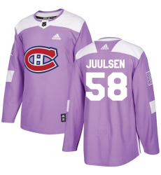 Men's Adidas Montreal Canadiens #58 Noah Juulsen Authentic Purple Fights Cancer Practice NHL Jersey