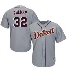 Men's Majestic Detroit Tigers #32 Michael Fulmer Replica Grey Road Cool Base MLB Jersey
