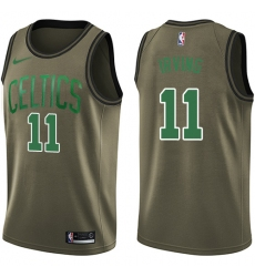 Youth Nike Boston Celtics #11 Kyrie Irving Swingman Green Salute to Service NBA Jersey