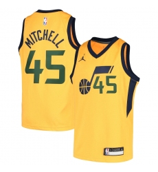 Youth Utah Jazz #45 Donovan Mitchell Jordan Brand Gold 2020-21 Swingman Player Jersey
