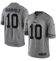 Men's Nike San Francisco 49ers #10 Jimmy Garoppolo Limited Gray Gridiron NFL Jersey