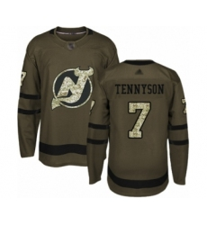 Men's New Jersey Devils #7 Matt Tennyson Authentic Green Salute to Service Hockey Jersey