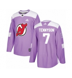 Men's New Jersey Devils #7 Matt Tennyson Authentic Purple Fights Cancer Practice Hockey Jersey