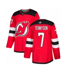 Men's New Jersey Devils #7 Matt Tennyson Authentic Red Home Hockey Jersey