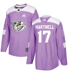 Youth Adidas Nashville Predators #17 Scott Hartnell Authentic Purple Fights Cancer Practice NHL Jersey