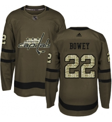 Men's Adidas Washington Capitals #22 Madison Bowey Authentic Green Salute to Service NHL Jersey