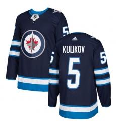 Youth Adidas Winnipeg Jets #5 Dmitry Kulikov Authentic Navy Blue Home NHL Jersey