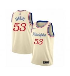Men's Philadelphia 76ers #53 Darryl Dawkins Swingman Cream Basketball Jersey - 2019 20 City Edition
