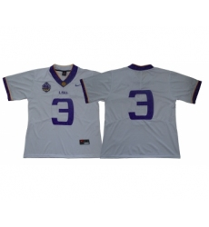 LSU Tigers #3 White 125 Sesons Nike College Football Jersey