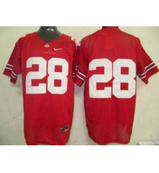 Buckeyes #28 Red Embroidered NCAA Jersey