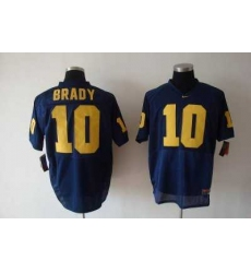 Wolverines Tom Brady #10 Blue Embroidered NCAA Jersey